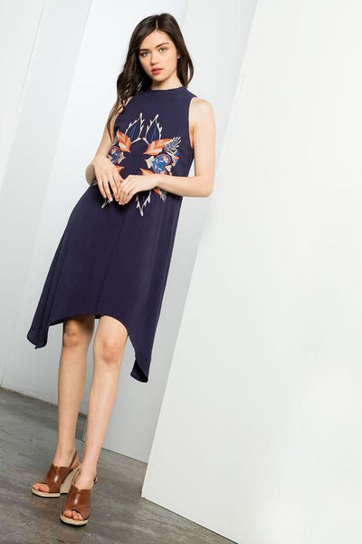 Navy Mock Neck Halter Dress