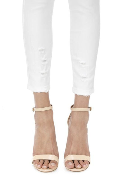 """The Annettes's"" White Denim Skinny Ankle Jeans - THE WEARHOUSE"