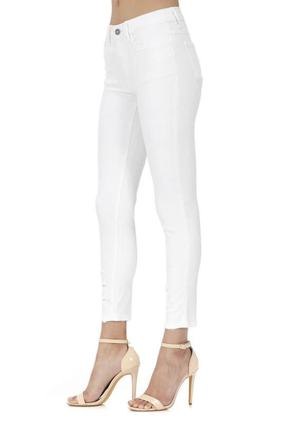 """The Annettes's"" White Denim Skinny Ankle Jeans"