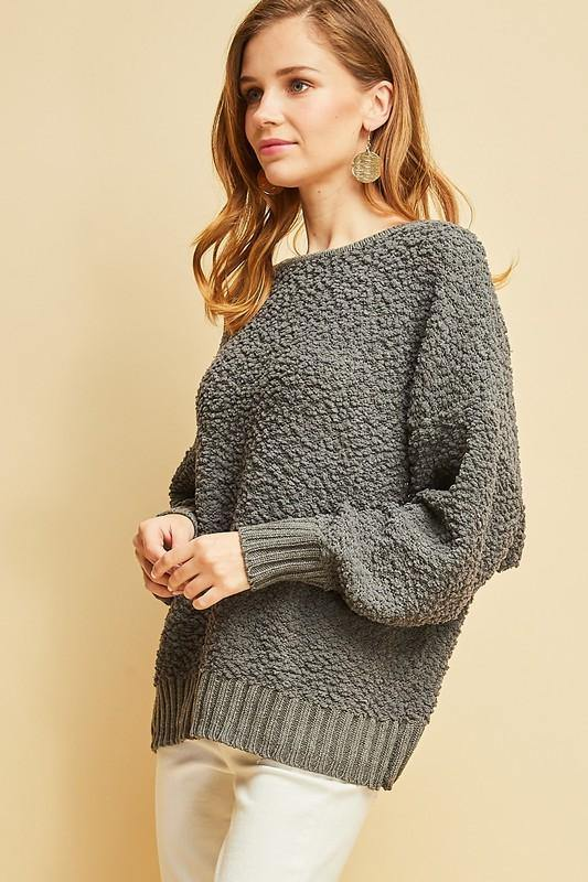 Charcoal Shearling Open-back Sweater