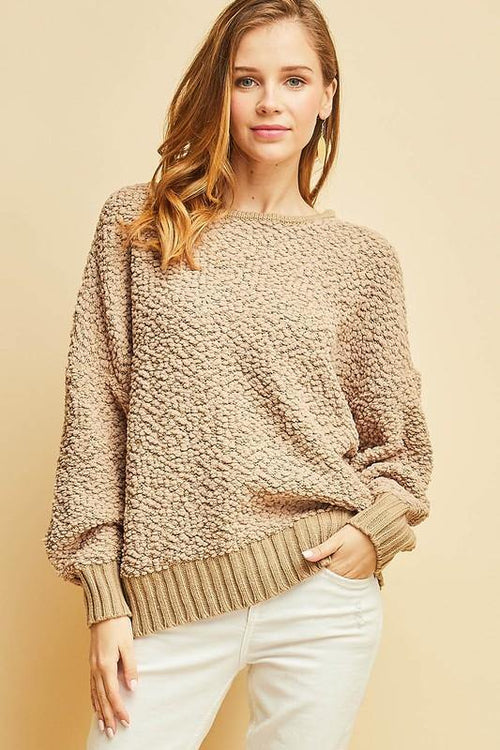 Taupe Shearling Open-back Sweater