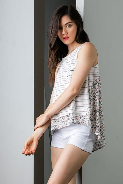 Cream Stripe Pocket Tank Top - THE WEARHOUSE