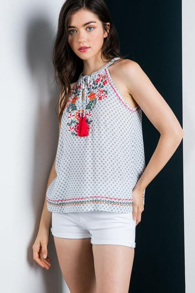 Light Blue and White Halter Embroidered Top