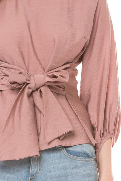 Mauve Top with Solid Boat Neck Tie