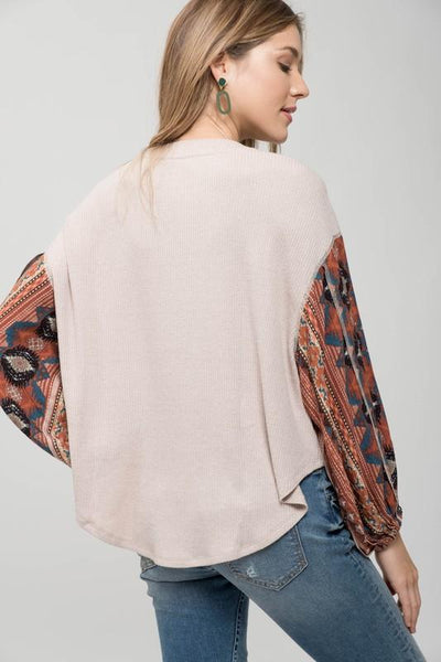 Taupe Oversized Knit Top