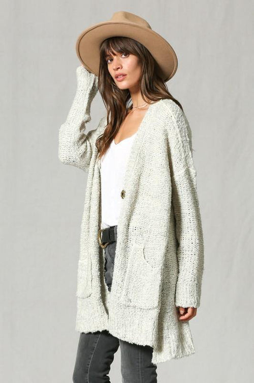 Oatmeal Three Button Cardigan