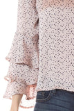 Blush Satin Polka Dot Top