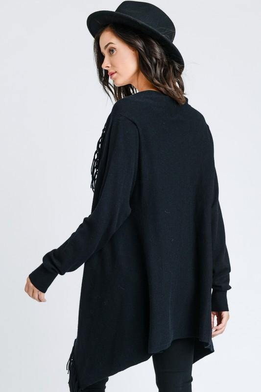 Black Fringed Wrap Cardigan Poncho - THE WEARHOUSE