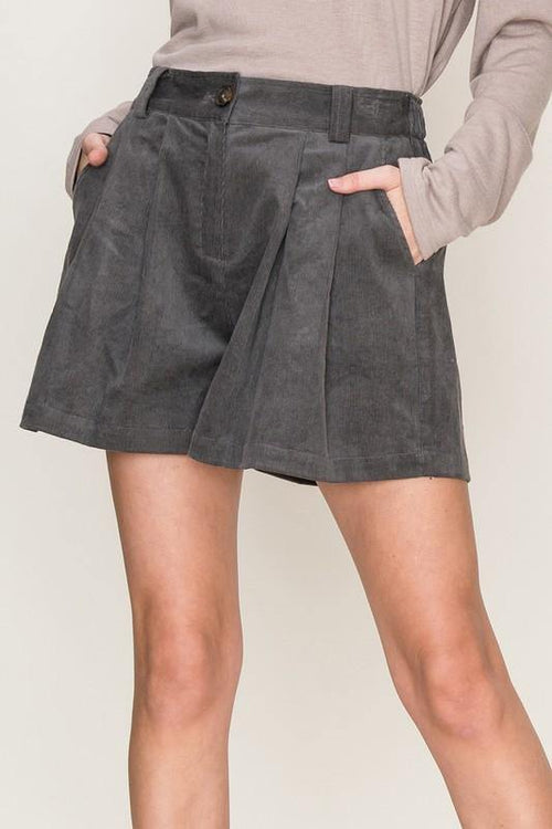 Charcoal Corduroy Shorts - THE WEARHOUSE