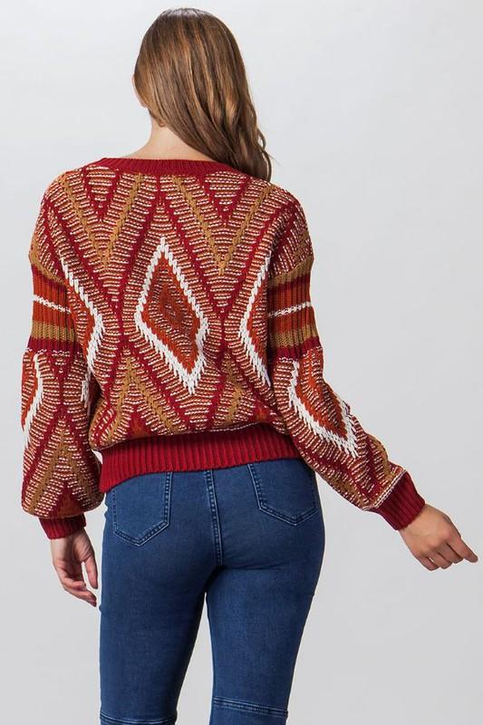 Red Multi-colored Bubble Sleeve Sweater
