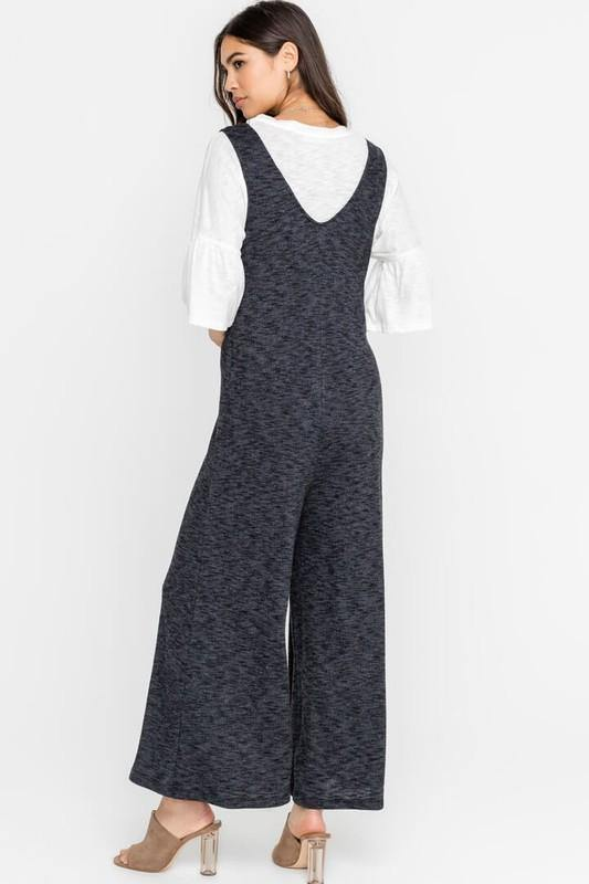 Charcoal Knit Botton Jumpsuit - THE WEARHOUSE