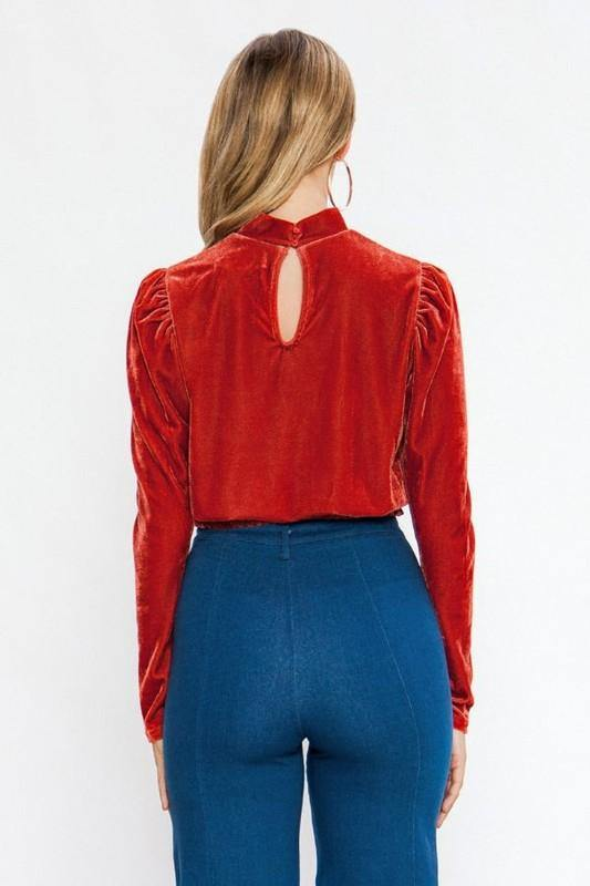 Rust Colored High Neck Velvet Top