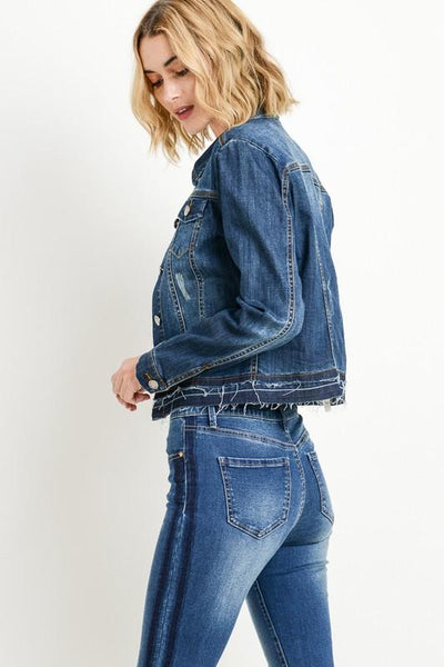 Dark Double Layered Denim Jacket - THE WEARHOUSE