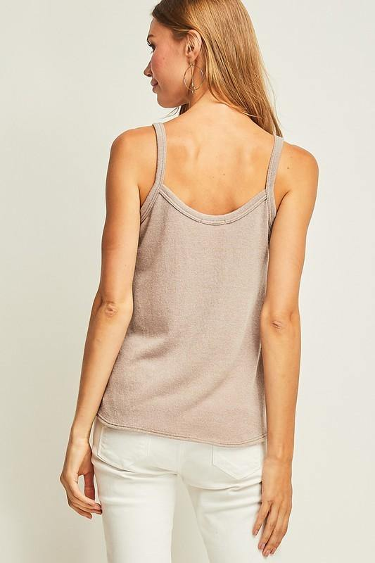 Latte Colored Knit Button Up Tank