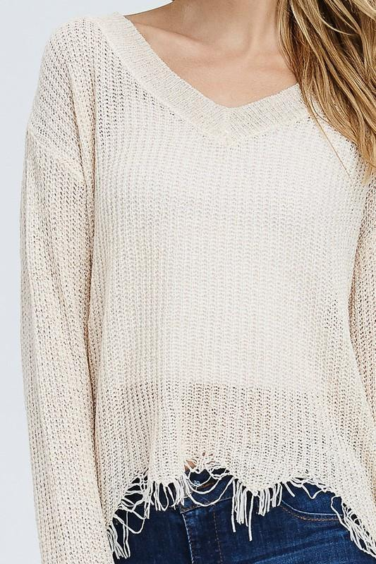 Nude Colored Knit V-neck Sweater