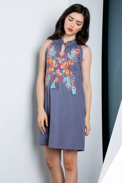 Navy Halter Embroidered Dress - THE WEARHOUSE