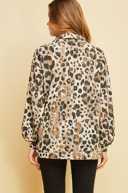 Faded Leopard Print Zip-Up