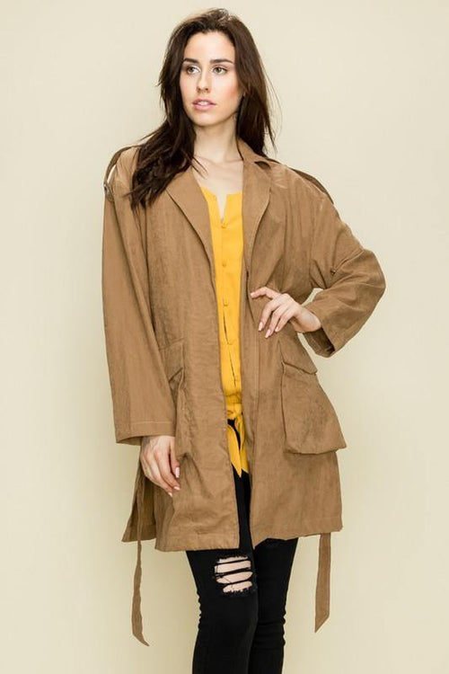 Taupe Lightweight Rhinestone Trench Coat