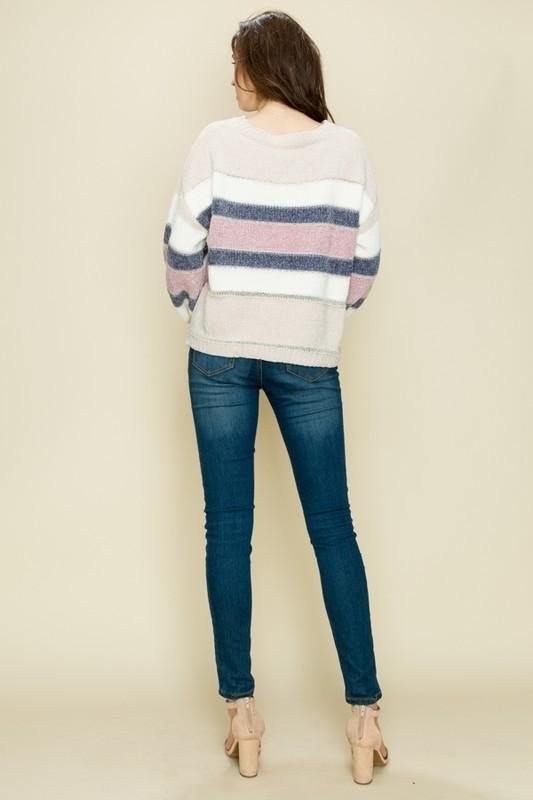 Blush Glitter Striped Sweater - THE WEARHOUSE