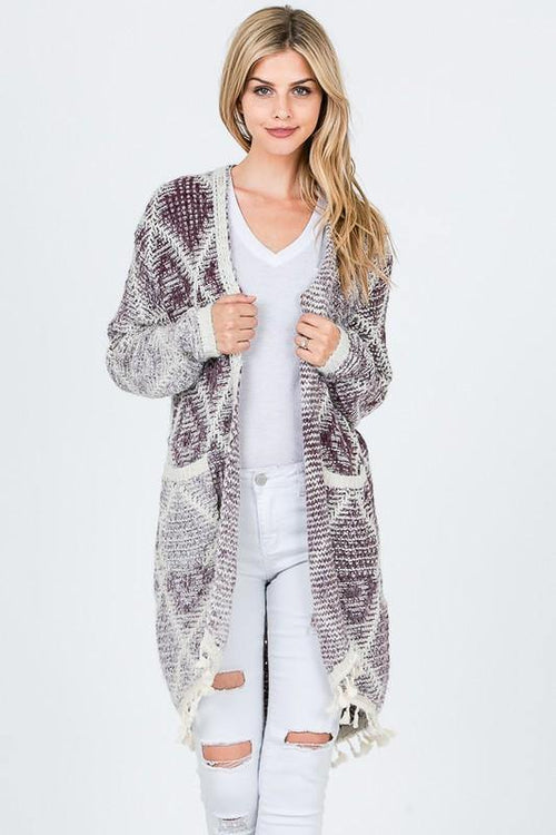 Purple Tribal Print Cardigan