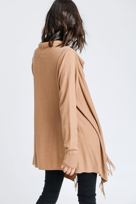 Camel Fringed Wrap Cardigan Poncho - THE WEARHOUSE