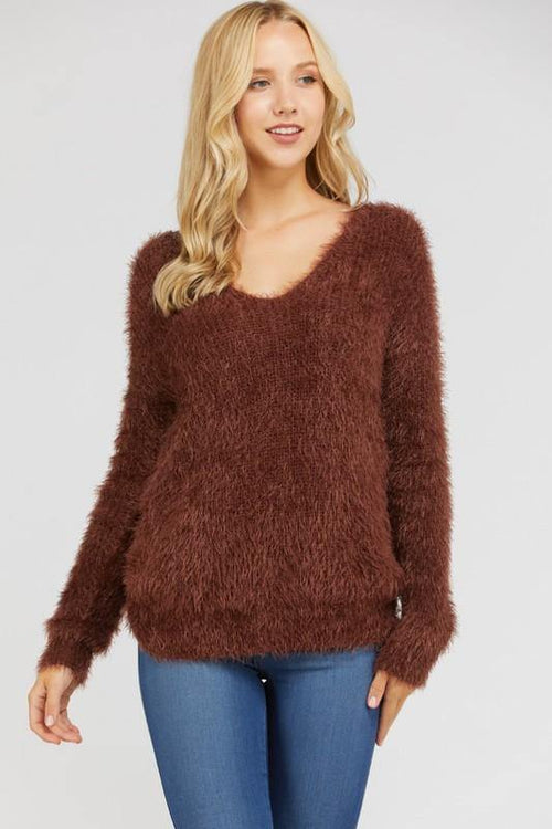 Mocha Low Twist Knotted Fuzzy Sweater