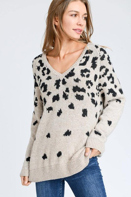 Ivory and Black Leopard Print Sweater