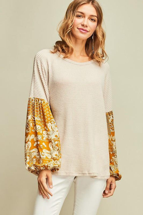 Natural and Paisley Waffle Print Top