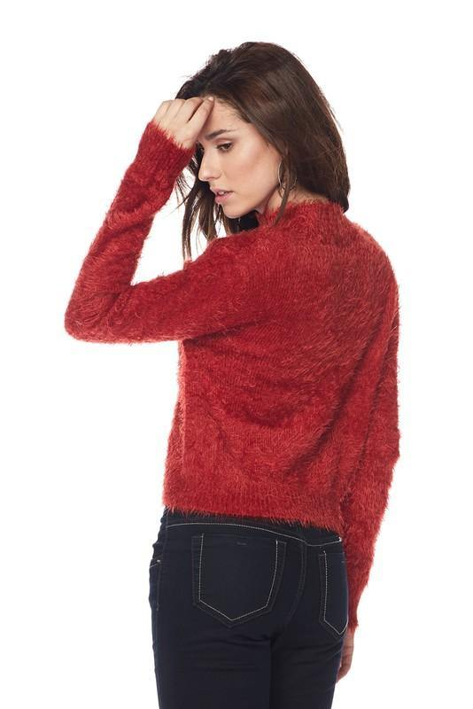 Red High Neck Fuzzy Sweater