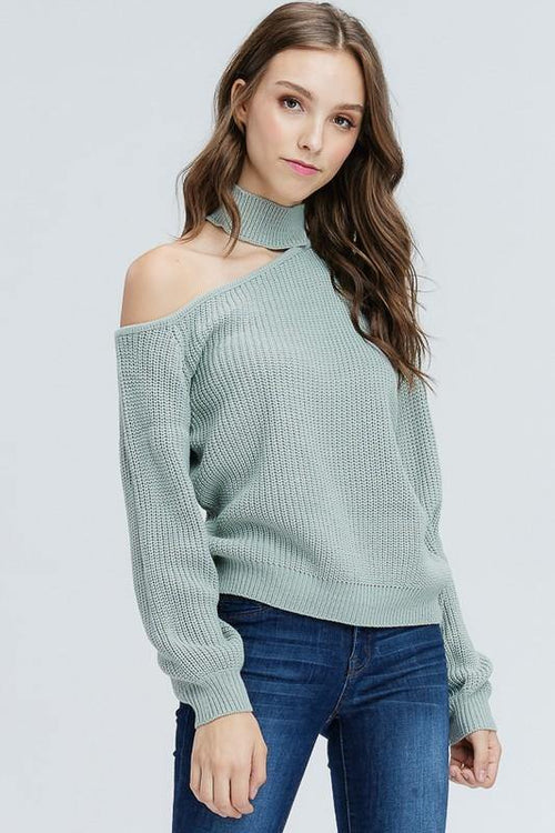 Grey to Green One Shoulder Choker Sweater