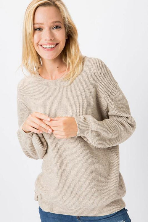 Oatmeal Knit Pullover Sweater