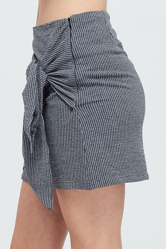 Charcoal Tie Front Mini Skirt