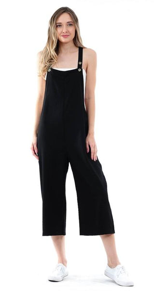 Black Cropped Pinafore Jumpsuit