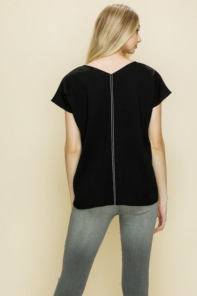 Black Contrasting Sleeveless Top