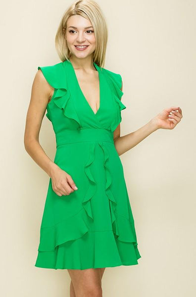 Solid Green Waist Tie Dress