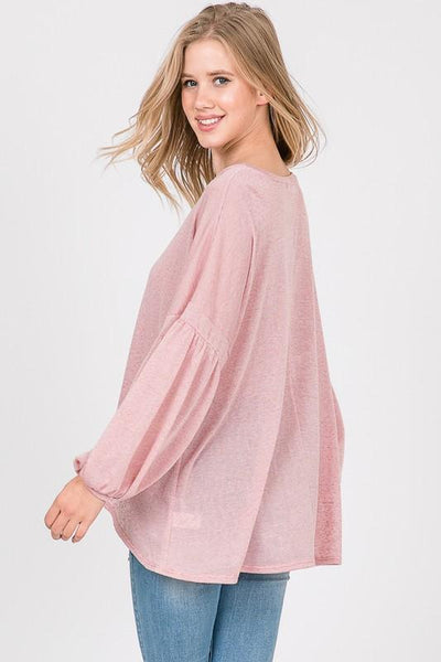 Pink Flared Knit Top with Puff Sleeves