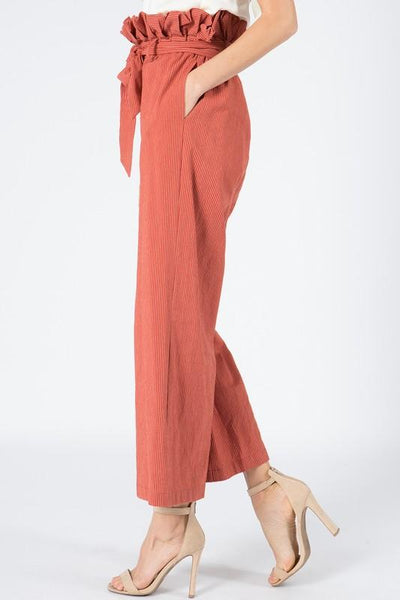 Terracotta Striped Ruffle Pants