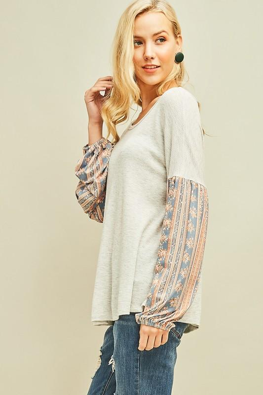 Heather Grey Thermal Knit Top
