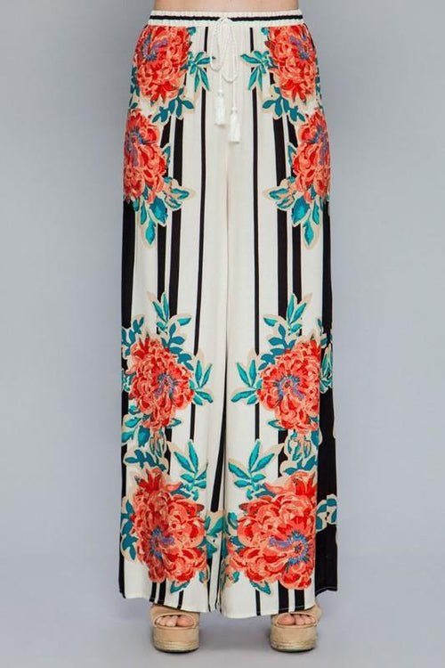 Ivory and Floral Palazzo Pants