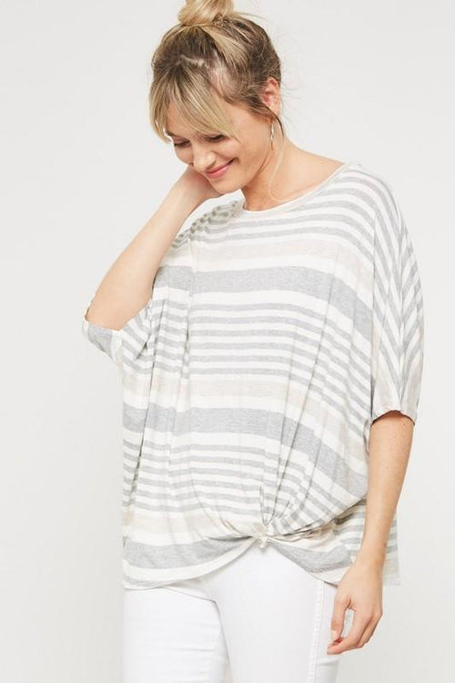 Grey and White Striped Loose Print Top