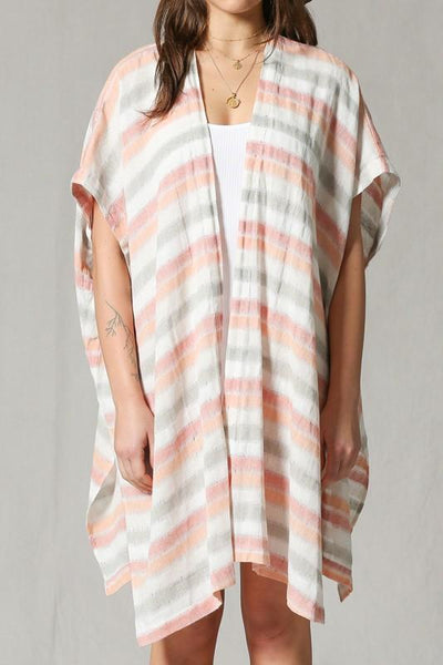 Ivory and Coral Striped Cover Up Poncho