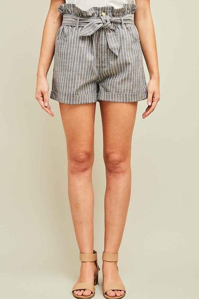 Denim Pinstriped Paperbag Shorts - THE WEARHOUSE