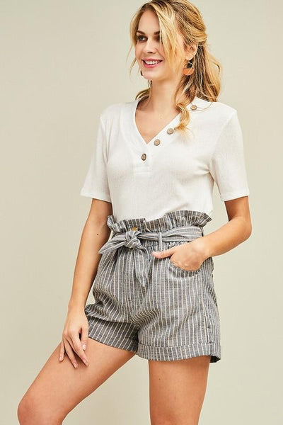 Denim Pinstriped Paperbag Shorts