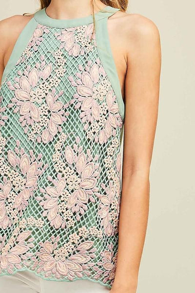 Sage And Crochet Mesh Top