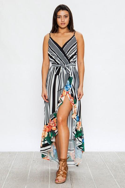 Black Striped and Floral Wrap Dress