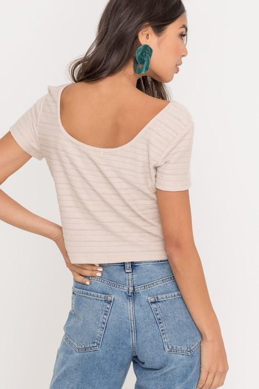 Sand Dollar Buttoned Ribbed Top