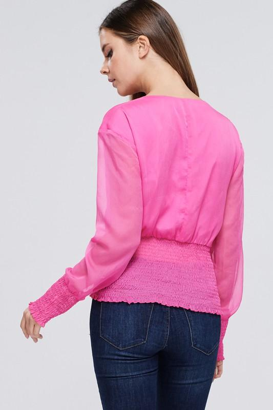 Bubble Pink Sheer Sleeve Top