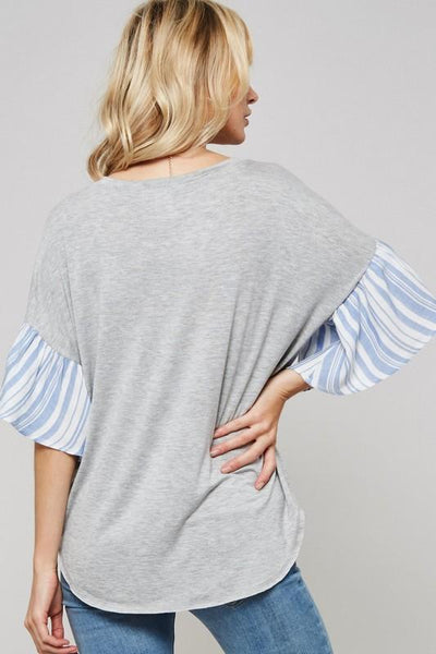 Blue and White Striped Sleeve Top