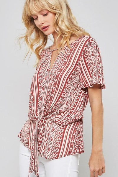 Red Geo Print Low Back Blouse