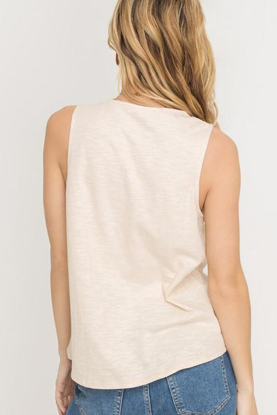 Cream V-neck Tie Hem Tank